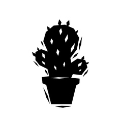 Black and white cactus logo vector image vector image