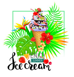 enjoy summer ice cream bright composition vector image vector image