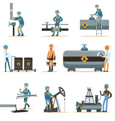 happy people working in oil industry collection of vector image vector image