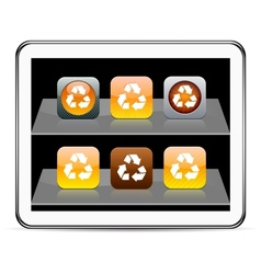 recycling orange app icons vector image vector image