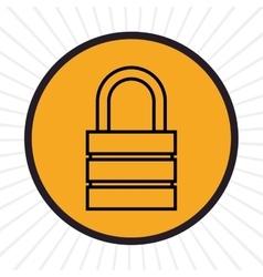 Security padlock inline icon vector image