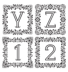 Vintage monograms set y z outline letters and 1 2 vector