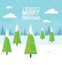 Winter Scene with Christmas Trees vector image