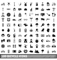 100 bicycle icons set simple style vector