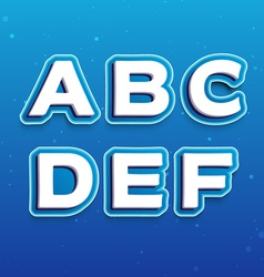 3D Font in Cartoon style with letters from A to F vector image