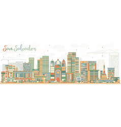 Abstract san salvador skyline with color buildings vector