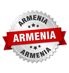 Armenia round silver badge with red ribbon vector