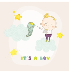 Baby boy catching stars on a cloud - shower vector
