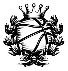 Basketball ball with laurel wreath and crown vector