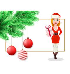 beautiful woman in santa claus costume vector image