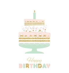 Birthday cake with glitter isolated on white vector image