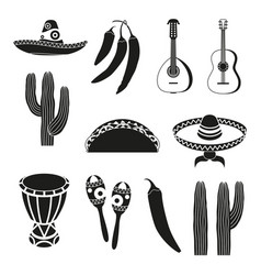 Black and white 12 mexican elements vector
