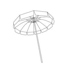 black and white open beach umbrella outline vector image