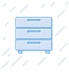 Blue furniture nightstand line icon isolated on vector