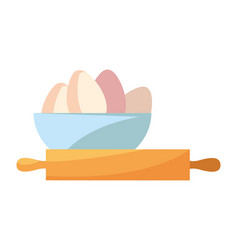 bowl eggs rolling pin preparation cooking vector image