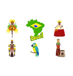 brazil symbols set travel and attractions of vector image