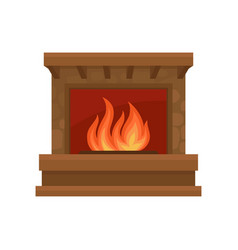 Burning fireplace on a white vector