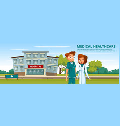 cartoon man woman doctors medical service vector image