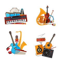 Cartoon musical instruments piles set vector