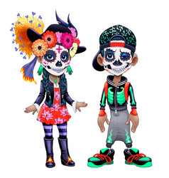 characters celebrating mexican halloween vector image