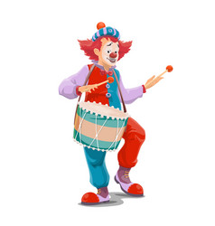 Circus clown with drum carnival show vector