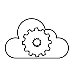 Cloud computing with gear machine isolated icon vector