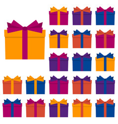 collection of twenty multi colored gift boxes vector image