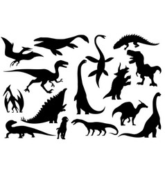collection silhouettes dinosaurs skeletons vector image