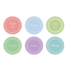 collection vintage floral circular card vector image