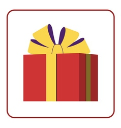 Colorful wrapped gift box icon red vector