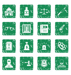Crime and punishment icons set grunge vector