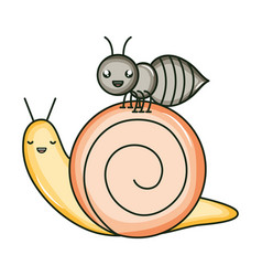 Cute ant insect and snail kawaii characters vector