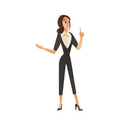 cute cartoon businesswoman at job vector image