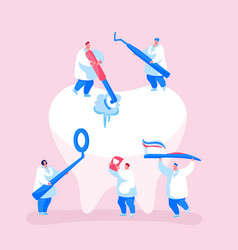 Dental care concept tiny dentists characters vector