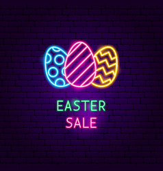 Easter sale neon label vector