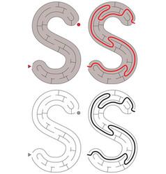 Easy alphabet maze - letter s vector