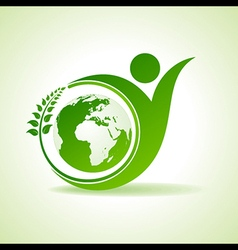 Eco people celebration icon with leaf and earth vector image