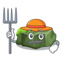 farmer cartoon green rock sample of high grade vector image