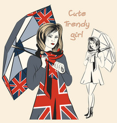 fashion trendy girl hold umbrella in british flag vector image