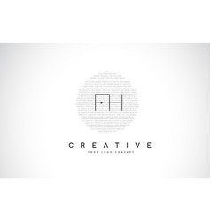 Fh f h logo design with black and white creative vector