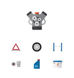 Flat auto set of motor petrol turnscrew and vector