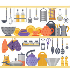 Flat kitchen shelves with utensils and kitchenware vector