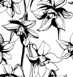 Floral flower narcissus seamless hand drawn vector