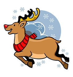 Flying Rudolph Red Nosed vector image