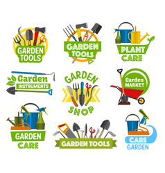 gardening shop equipment icons vector image