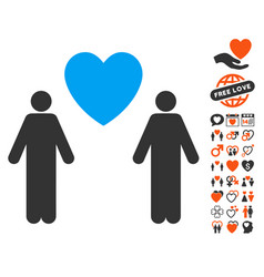Gay lovers icon with dating bonus vector