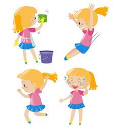 Girl doing four different activities vector