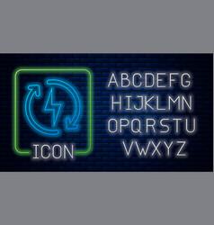 Glowing neon recharging icon isolated on brick vector