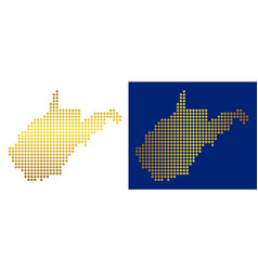 Golden dotted west virginia state map vector