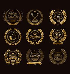 Golden laurel wreaths templates vector
